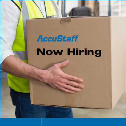 man holding box AccuStaff Now Hiring