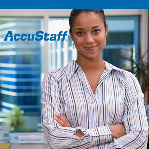 standing woman folding arms with AccuStaff logo