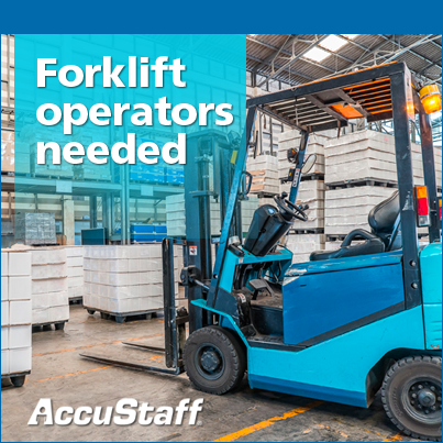 Forklift Operator moving material for AccuStaff