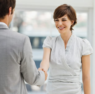 candidate handshake at interview